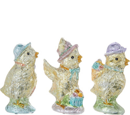 Set of (3) Slim Foil Wrapped Chicks by Valerie