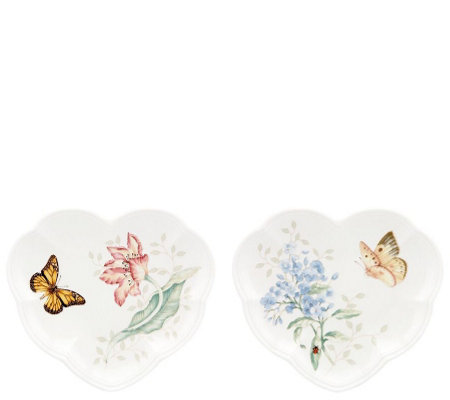 Lenox Butterfly Meadow S/2 Heart Party Plates