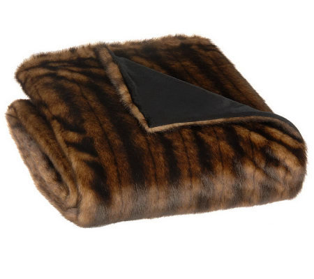 "Dennis Basso 55"" x 68"" Oversized Faux Fur Throw"