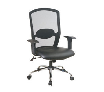Office Star Black Screen Back Executive Chair w/Leather Seat - H154974