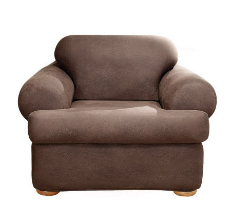 Sure Fit Stretch Faux-Leather T-Cushion Chair Slipcover
