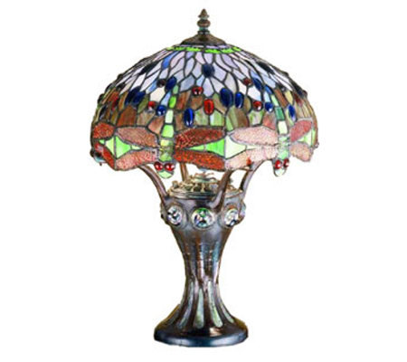 "Tiffany Style 17""H Dragonfly Mosaic Base AccentLamp"
