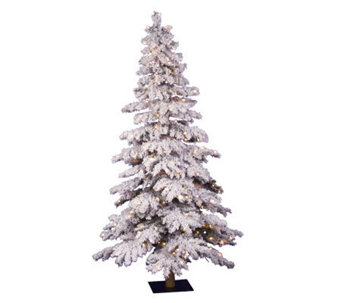 7' Prelit Flocked Alpine Spruce Tree w/Clr Lights by Vickerma - H183974