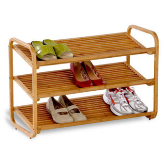 Honey-Can-Do 3-Tier Deluxe Bamboo Shoe Shelf - H184074