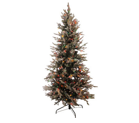 BethlehemLights 7.5' Pre-lit Hunter Fir Flocked Christmas Tree