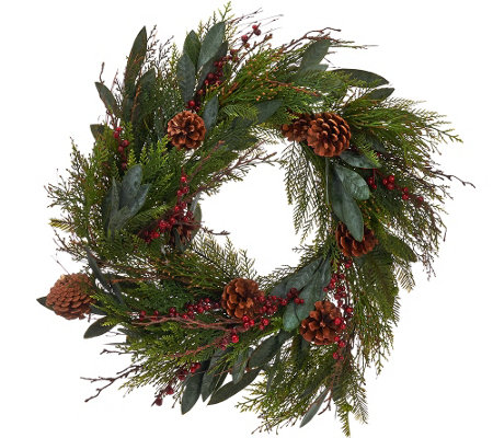 "ED On Air 24"" Bay Leaf Wreath with Berries by Ellen DeGeneres"