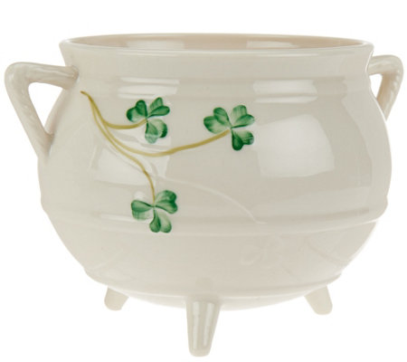 Belleek Shamrock Three Legged Pot