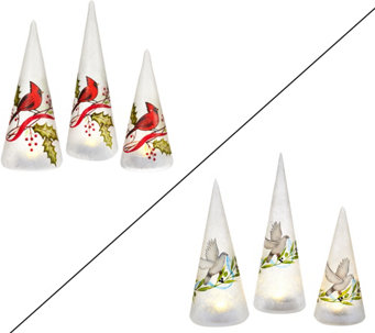 """As Is"" Set of 3 Handpainted Presents or Cone Trees by Valerie - H208374"