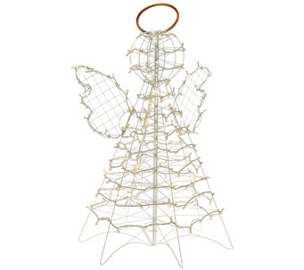 """As Is"" 3' Fold Flat Outdoor LED Snowman or Angel by Lori Greiner - H208574"