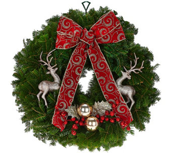 Del. Week 11/28 Fresh Balsam Holiday Wreath by Valerie - H209774