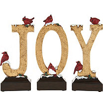 3 Piece Joy Decorative Accent w/ Snow and Cardinals by Valerie - H211674