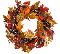 "24"" Beaded Pumpkin, Corn, and Pinecone Wreath - H212674"