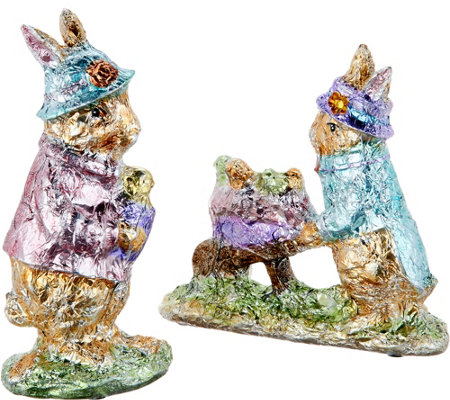 2-Piece Foil Wrapped Bunnies with Hats by Valerie