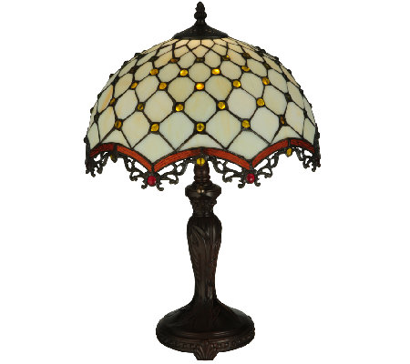 Meyda Tiffany-Style Diamond & Jewel Table Lamp