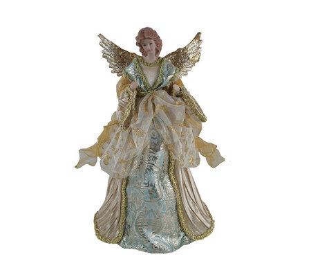 "16"" Aqua & Gold Angel Tree Topper by Santa's Workshop"