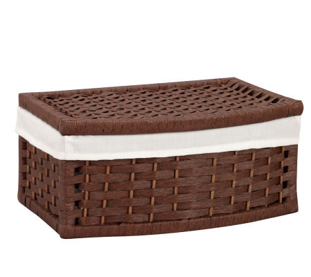 Household Essentials Paper Rope Curved Basket -Stained Finish