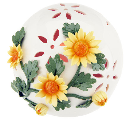 Porcelain Ball with Flowers and Flameless Candle by Home Reflections