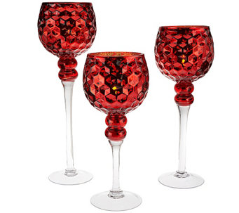 Set of 3 Honeycomb Glass Goblets with Tealights by Valerie - H203675