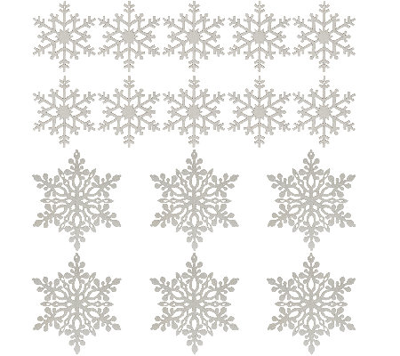Set of 16 Glittered Wood Snowflake Ornaments