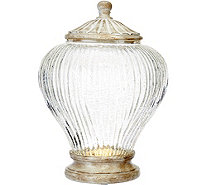 "11"" Illuminated Ribbed Glass Urn by Valerie - H207675"