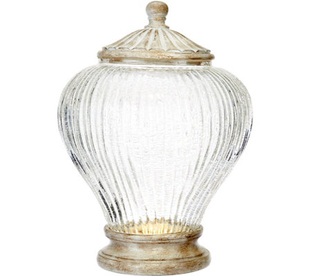 "11"" Illuminated Ribbed Glass Urn by Valerie"