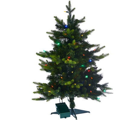 """As Is"" BethlehemLights 30"" Mixed Green Prelit Holiday Stake Tree"