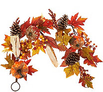4' Beaded Pumpkin, Corn, and Pinecone Garland - H212675
