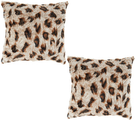 """As Is"" Dennis Basso Set of 2 18"" X 18"" Faux Fur Pillows"