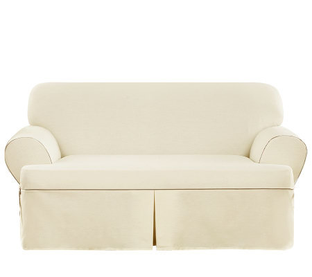 Sure Fit CVC Duck 1-Piece T-Cushion Loveseat Slipcover