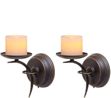 Candle Impressions Set of 2 Single-Arm Sconces