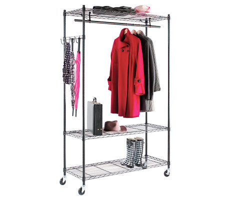 Alera 5-Hook Steel Wire Shelving Garment Rack,Black