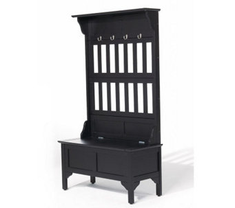 Home Styles Black Finish Hall Tree and StorageBench - H154676