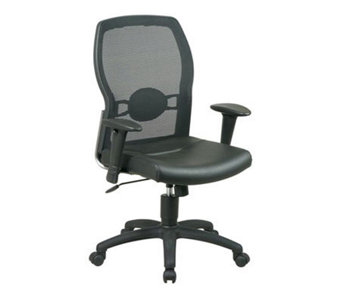 Office Star Black Screen Back Chair with Leather Seat - H154976