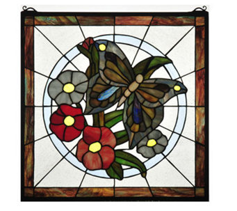 "Tiffany Style 20"" Butterfly Floral Stained Glass Window Panel - H181376"