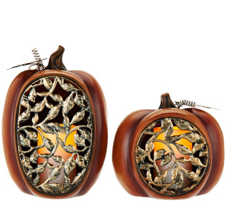 2-pc Flameless Candle Pumpkin Luminaries by Home Reflections