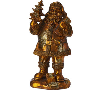 "Antiqued 10"" Santa Figurine with Presents & Tree Featuring Glitter Accents - H209576"