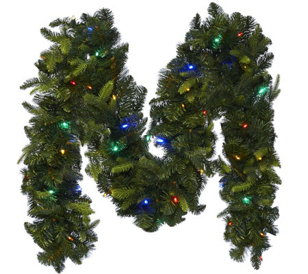 """As Is"" BethlehemLights 9' Mixed Greens Prelit Holiday Garland"