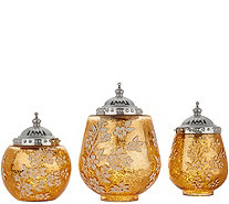 Set of 3 Illuminated Floral Mercury Glass Jars by Home Reflection - H210776