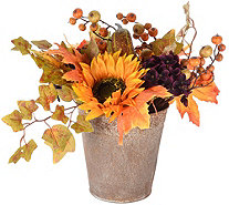 "14"" Harvest Hydrangea, Sunflower and Pumpkin Centerpiece - H212676"