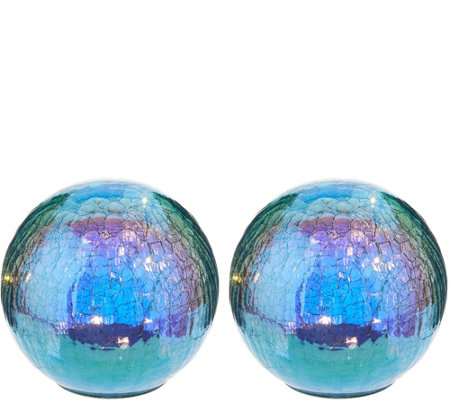 "Set of (2) 6"" Illuminated Iridescent Crackle Spheres by Valerie"