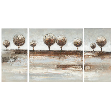 Triptych Round Topiary Canvas Paintings by Safavieh