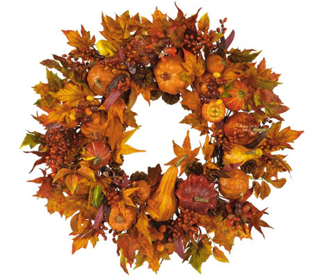 "28"" Harvest Wreath by Nearly Natural"
