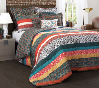 Boho Stripe 7-Piece Full/Queen Comforter Set byLush Decor - H290576
