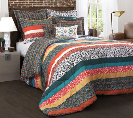 Boho Stripe 7-Piece Full/Queen Comforter Set byLush Decor
