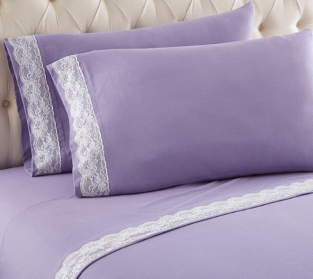 Shavel Micro Flannel Lace Edged Full Sheet Set