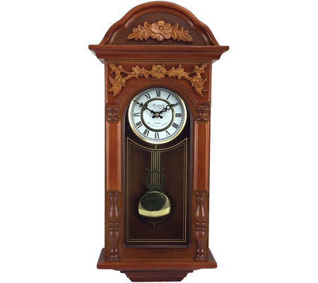 "Bedford Clock 27.5"" Padauk Oak Finish Chiming Wall Clock"