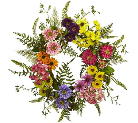 Mixed Flower Wreath by Nearly Natural