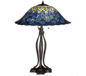 "Tiffany Style 30"" Peacock Feathers Table Lamp - H122477"