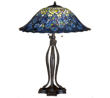"Tiffany Style 30"" Peacock Feathers Table Lamp"
