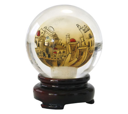 "Copa Judaica ""Golden Jerusalem"" Crystal Paperweight & Stand"